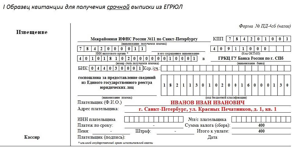 Образец квитанции на оплату выписки из егрюл